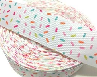 Cupcake Sprinkles Ribbon, Candy Sprinkles Ribbon, Sprinkles Grosgrain Ribbon
