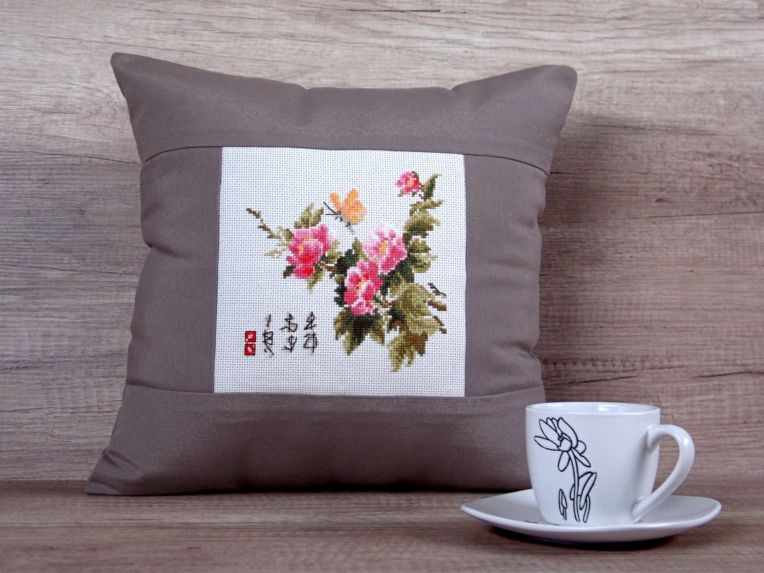 Asian cross stitch pillow covers embroidered japanese throw