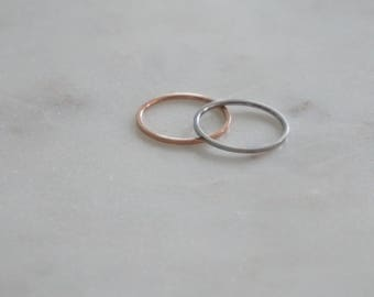 1.0 mm Rose Gold plated on Silver Plain skinny Band Ring, Minimalist ring, Dainty ring, stackable ring, thin silver ring, stacking, dainty