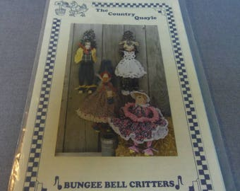 "Sewing Craft Pattern,  Bungee Bell Critters, Pig Doll, Cow Doll, Horse Doll, Bunny Doll, The Country Quayle, 18"" Hanging Dolls"