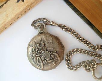 Vintage FHB pocket watch, vintage F.H.B. pocket watch, Swiss pocket watch, mechanical pocket watch, retro pocket watch, ornamented watch