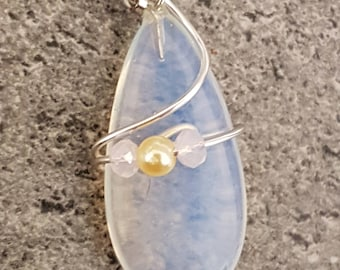 Opalite pendant, necklace, wire wrapped with pearl and rose rhondelle beads, Sterling silver figaro chain