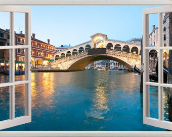 3D Wall Sticker Window *Venice, View from Rialto Bridge* / Self-Adhesive Vinyl Decal Poster Mural / Self-Adhesive Wallpaper