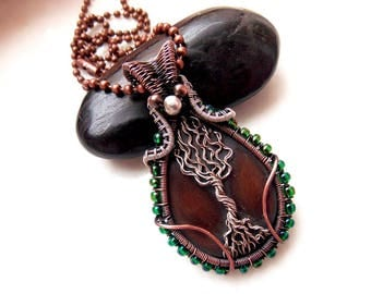 czech glass tree of life pendant-copper necklace-wire wrap-wire weave jewelry-artisan jewelry-handmade pendant-boho jewelry-rustic jewelry