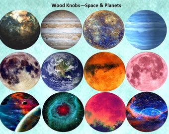 Space Planets Wood Knobs on Cherry Wood Knobs size 1.5 x 1.18 Wood Drawer Knobs Dresser Pull