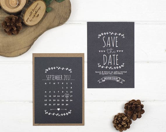 Rustic Save The Date Card - A6 Rustic Chalkboard