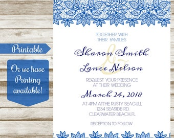 Navy / Blue Lace Wedding Invitation - Printable