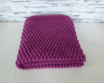 baby blanket crocheted in wool acrylic fuchsia