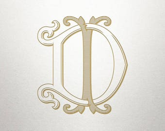 Interlocking Wedding Monogram - DI ID - Wedding Monogram - Vintage