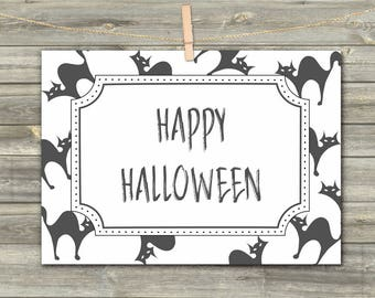 Halloween Cats, DIGITAL CARD, Greeting Card, Happy Halloween Card, Black Cats Download Card, Printable Card, Halloween Celebration, CatPrint