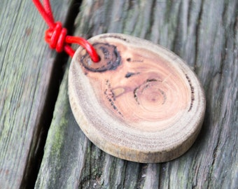 Handmade Unisex Reclaimed Wood Pendant & Adjustable Red Leather Cord Necklace Nature Jewelry OOAK Refashion Eco Boho Salvage Found Rustic