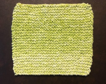 Your choice hand knit wash cloth / dish cloth. Neon green or bright pink. Eco living, green lifestyle, eco friendly home products.