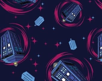 Sale Flannel - Doctor Who Pink Tardis Swirl Flannel Fabric by Springs Creative