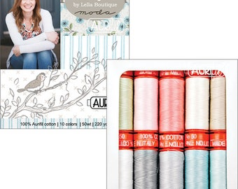 Nest Aurifil Thread Collection - 10 Small Spools, 50 wt, 220 Yards each spool, Lella Boutique Thread Collection