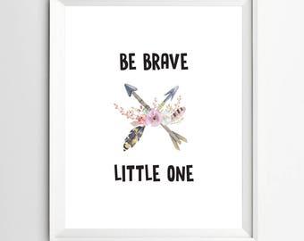 Be Brave Little One Printable Floral Nursery Wall Art Arrow Printable Girl Tribal Nursery Decor Crossed Arrows Coral and Mint Nursery Decor