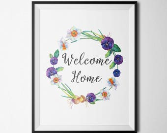 Welcome Home Gold Floral Decor Home Decor Gold Letter Print Home Floral Wreath Home Entrance Art Inspirational Quote Family Pictures