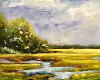 original oil painting//salt water marsh// South Carolina/11x14 inch/James Island Charleston South Carolina/wall art//