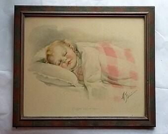 Vintage Signed Baby Print Artwork, M. Farini Original Frame Blond Girl Sleeping