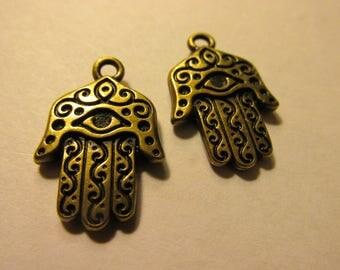 "Pewter Hamsa Hand Mini Pendant with Brass Finish, 1"", Set of 2"
