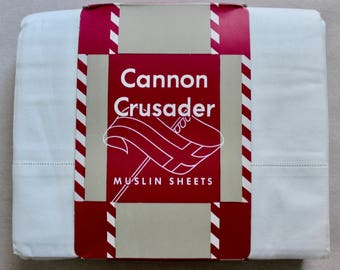 Vintage Unused Cannon Crusader All Cotton Double Muslin Sheets
