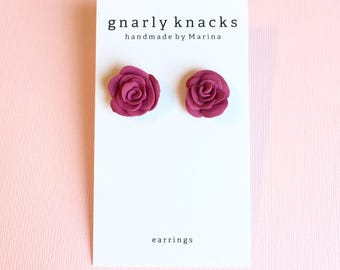 Magenta Rose Earrings