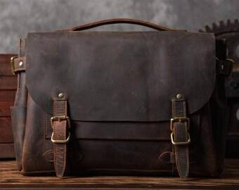 Handmade Vintage Leather Briefcase Men/Women Messenger Bag Laptop Bag, Satchel, Shoulder Bag Cross Body Bag