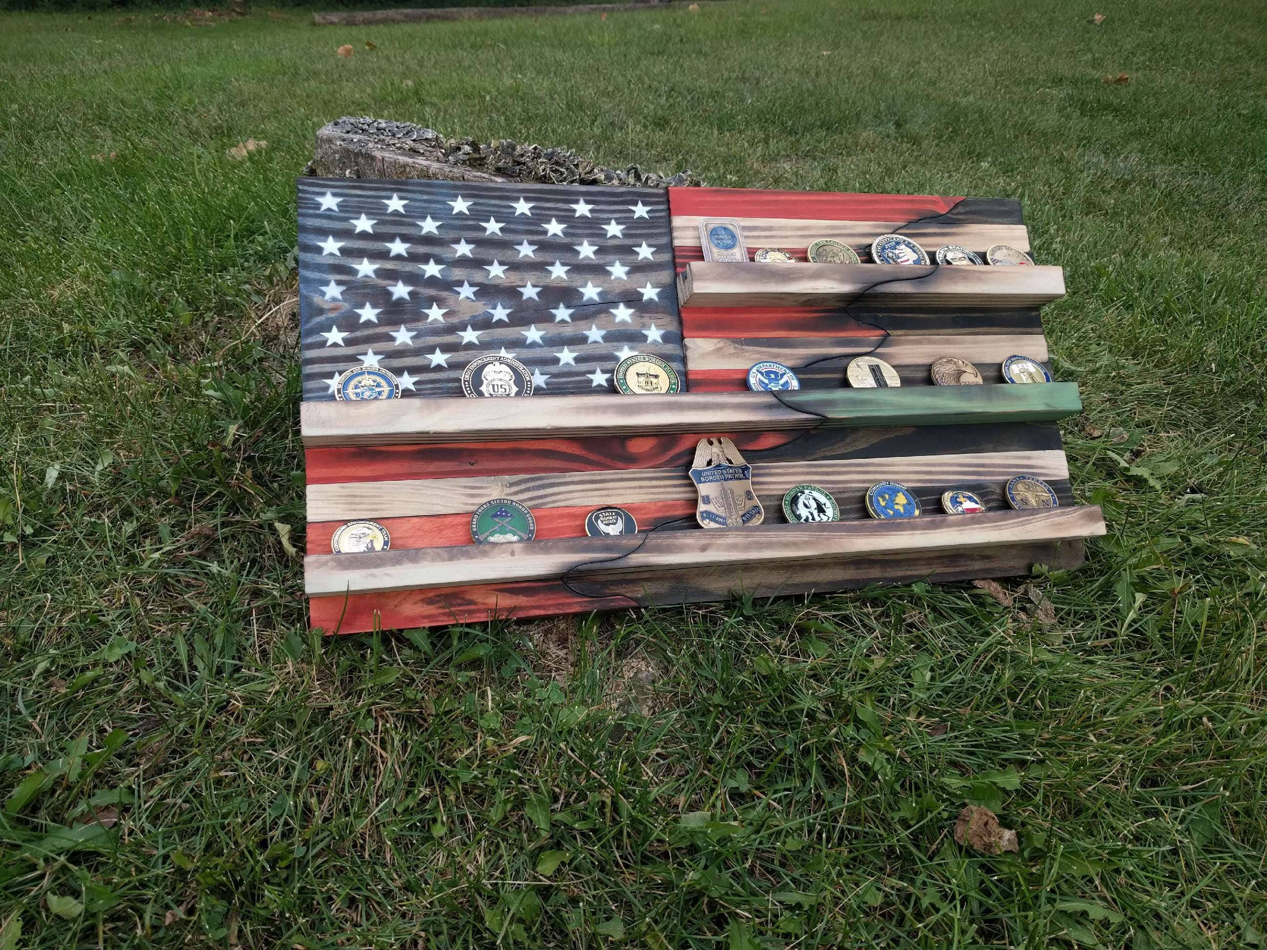 American Flag Challenge Coin Holder W Carved By – Wonderful