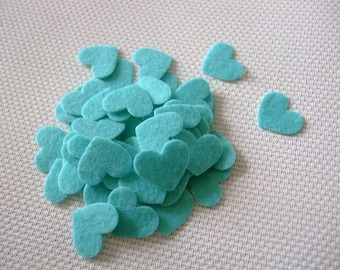 x 10 hearts stickers felt 20 mm x 17 mm turquoise colored scrapbooking, sewing, decoration...