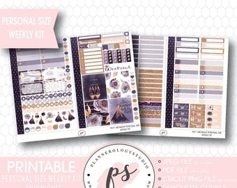 Midnight Personal Size Weekly Kit Printable Planner Stickers | JPG/PDF/Silhouette Cut Files