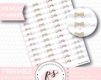 Bow Divider Header Digital Printable Planner Stickers | JPG/PDF/Silhouette Compatible Cut Files