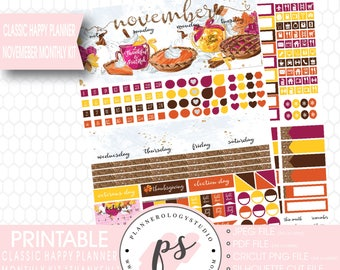 Thankful Thanksgiving November 2017 Monthly View Kit Printable Planner Stickers (for Classic Happy Planner) | JPG/PDF/Silhouette Cut File