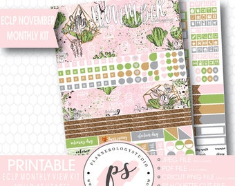 Wild at Heart Cactus November 2017 Monthly View Kit Printable Planner Stickers (for use with ECLP) | JPG/PDF/Silhouette Compatible Cut File