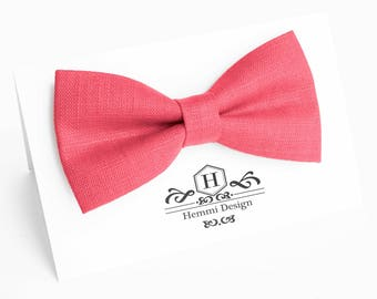 Coral Bow Tie For Wedding / Linen Bow Tie For Groomsmen / Coral Pocket Square With Bow Tie / Coral Boy's bow tie / Coral Bow Tie For Men