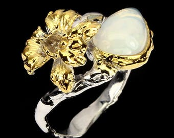 Handmade White Opal 14kt Gold and .925 Sterling Silver Ring Silver Size 10