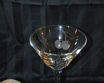 Martini Glass Etched with a cherries