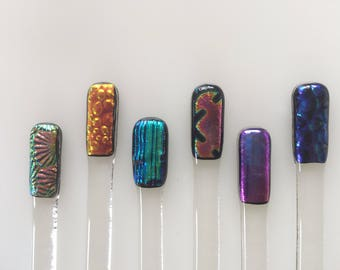Set of six dichroic fused glass swizzle sticks