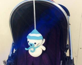 Crochet Seal Stroller toy, Seal Pram Toy, Seal Pram Toy, Crib Toy, Baby Gym Centre, Pram toy, newborn gift
