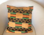 Housse de coussin 45x45 cm en tissu motif africain wax 3 plis