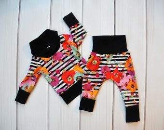 Grow with Me Harems, Floral Toddler Leggings, Kids Hoodie, Cowl Sweater, Childrens Clothes, Toddler Outfit, Baby Shower Gift, Gender Neutral