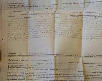 1870 Vellum Indenture Mortgage with Cancelled US Revenue Stamps