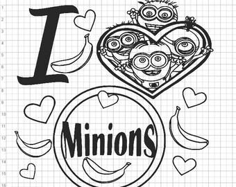 I Love Minions SVG EPS DXF pdf png Cut Files