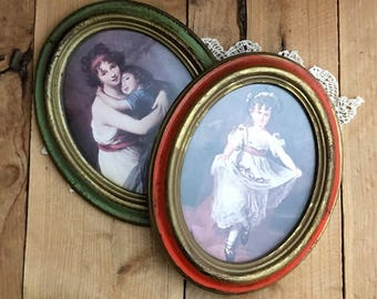 Vintage Oval Framed Mother and Child Set of 2 Made in Italy