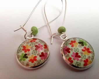 long multicolored flower glass cabochon earrings