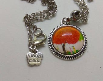 colorful tree of life glass cabochon necklace