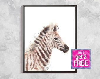 Zebra Print, Baby Zebra watercolor, Safari print, Wild Animal Decor, Safari Watercolor printable, Nursery animal decor, Safari art