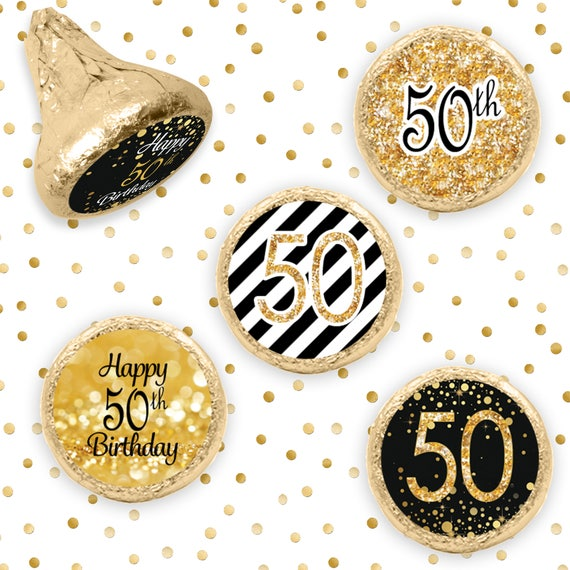 50th Happy Birthday Party Favors Black and Gold 50th