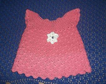 Handmade dress salmon pink crochet Butterfly sleeves