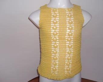 2/3 years old hand made crochet yellow sleeveless shirt