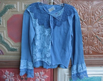 Blue Garment Dyed Boho Gypsy Romantic Lace Trimmed Layered Top Medium