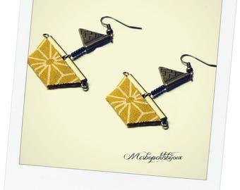 little boat earrings, mustard yellow star asanoha printed Japanese fabric
